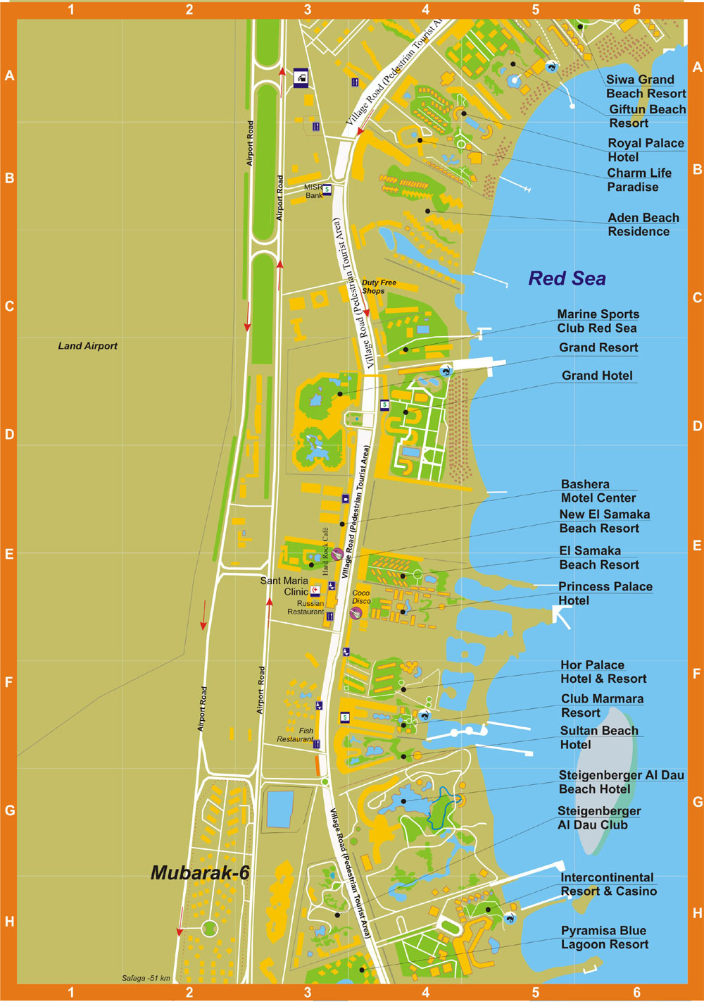 Отели хургады на карте