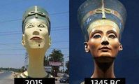 В Египте отлили бюст Нефертити, которая похожа на Франкенштейна